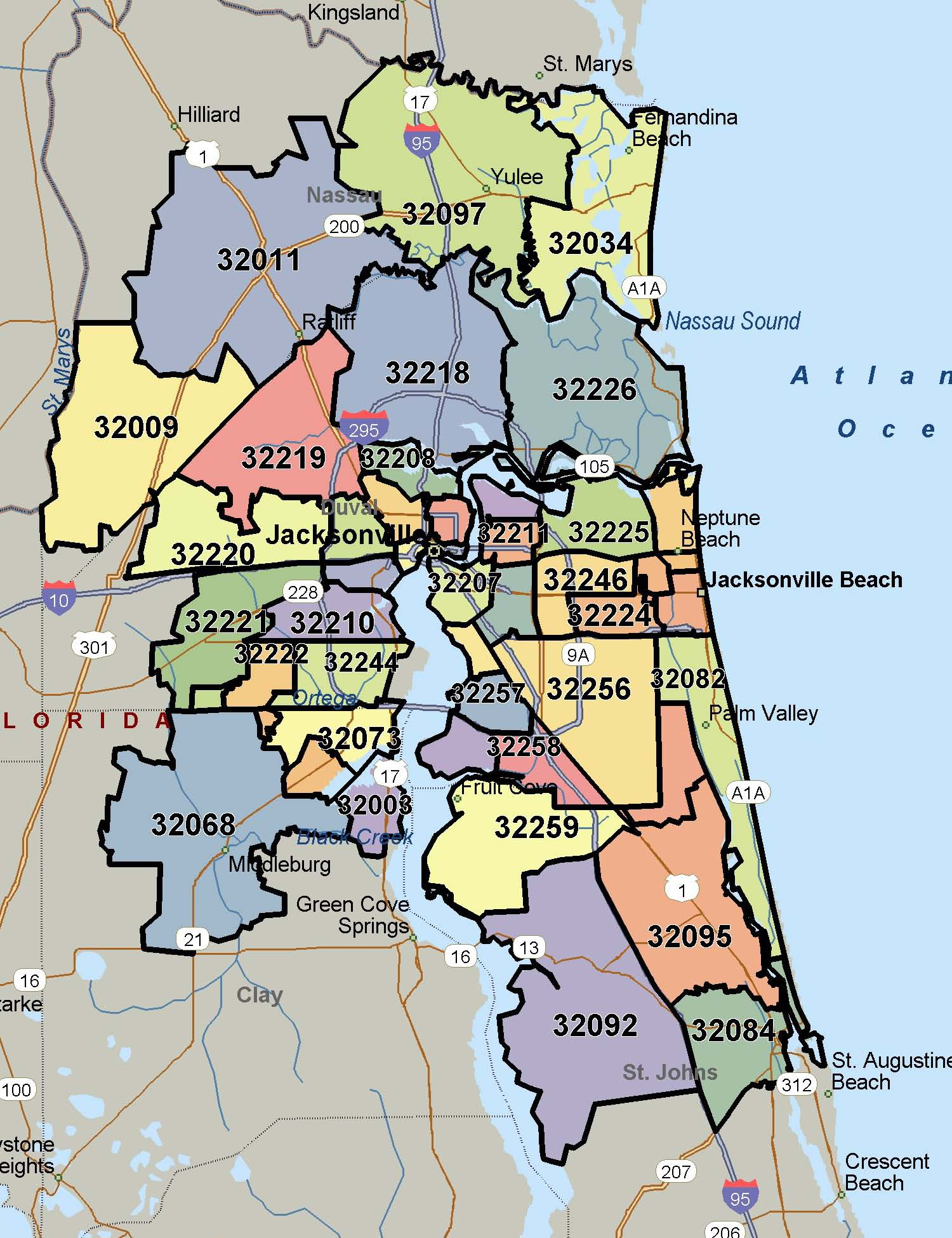 north florida map with zip codes